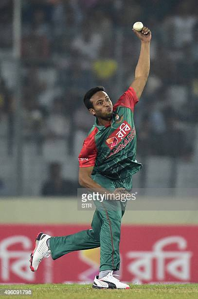 Bangladesh cricketer Shakib Al Hasan delivers a ball during the first oneday international match between Bangladesh and Zimbabwe at the Shere Bangla...
