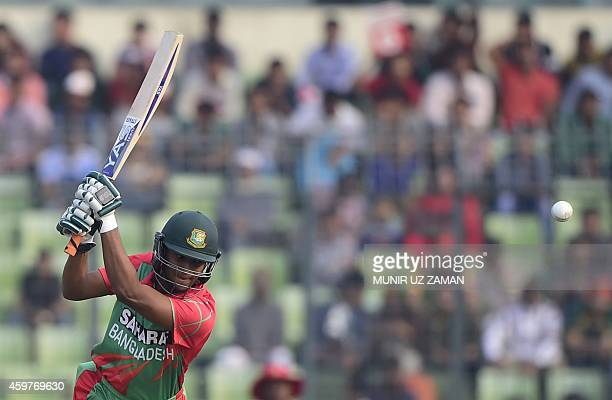 Bangladesh cricketer Shakib Al Hasan plays a shot during the fifth and the final oneday international match between Bangladesh and Zimbabwe at the...