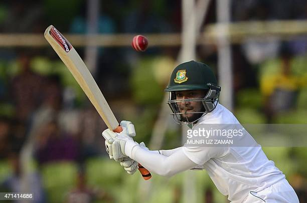 Bangladesh cricketer Shakib Al Hasan plays a shot during the first day of the first cricket Test match between Bangladesh and Pakistan at The Sheikh...