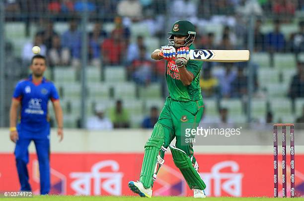 Bangladesh cricketer Shakib Al Hasan plays a shot during the first one day international cricket match between Afghanistan and Bangladesh at the...