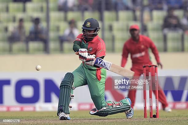 Bangladesh cricketer Shakib Al Hasan plays a shot during the third oneday international match between Bangladesh and Zimbabw at the Shere Bangla...