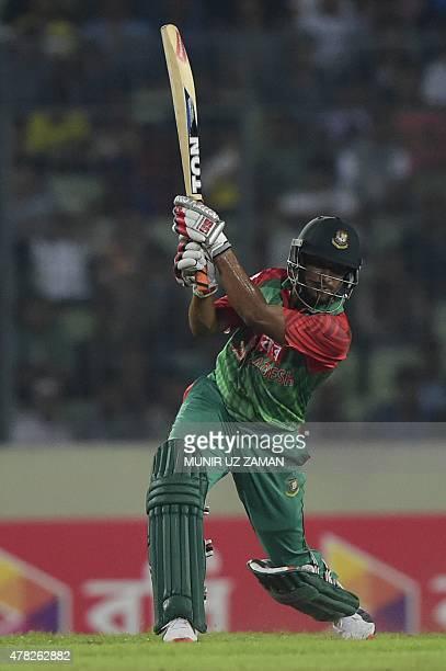 Bangladesh cricketer Shakib Al Hasan plays a shot during the third ODI cricket match between Bangladesh and India at the ShereBangla National Cricket...
