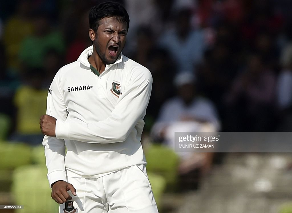 Bangladesh cricketer Shakib Al Hasan reacts after the dismissal of Zimbabwean batsman Hamilton Masakadza during the fifth day of the second cricket...