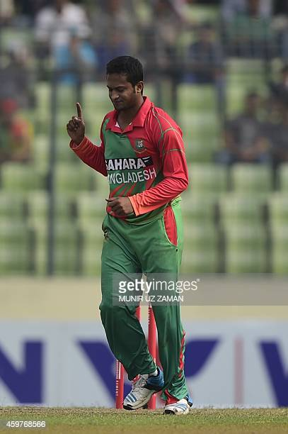 Bangladesh cricketer Shakib Al Hasan reacts after the dismissal of Zimbabwe cricketer Tafadzwa Kamungozi during the fifth and the final oneday...