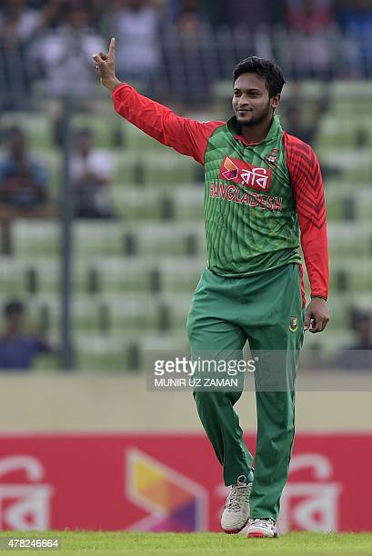 Bangladesh cricketer Shakib Al Hasan reacts after the dismissal of Indian cricketer Virat Kohli during the third ODI cricket match between Bangladesh...