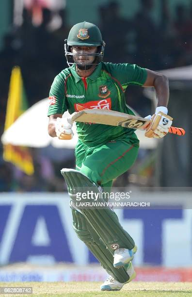 Bangladesh cricketer Shakib Al Hasan runs between the wickets during the third and final one day international cricket match between Sri Lanka and...