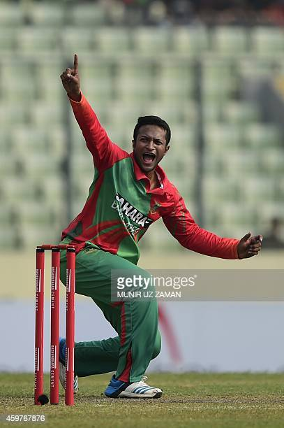 Bangladesh cricketer Shakib Al Hasan unsuccessfully appeals for a leg before wicket decision during the fifth and the final oneday international...
