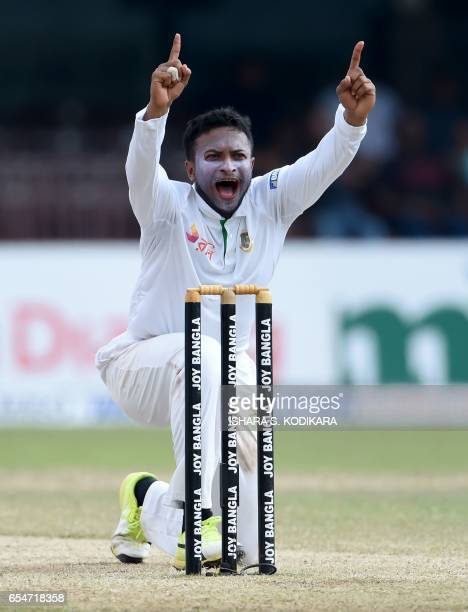 Bangladesh cricketer Shakib Al Hasan unsuccessfully appeals for the wicket of Sri Lankan cricketer Dilruwan Perera during the fourth day of the...