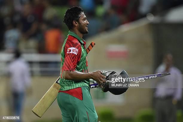 Bangladesh cricketer Shakib Al Hasan walks off the field after winning the second ODI cricket match between Bangladesh and India at the ShereBangla...