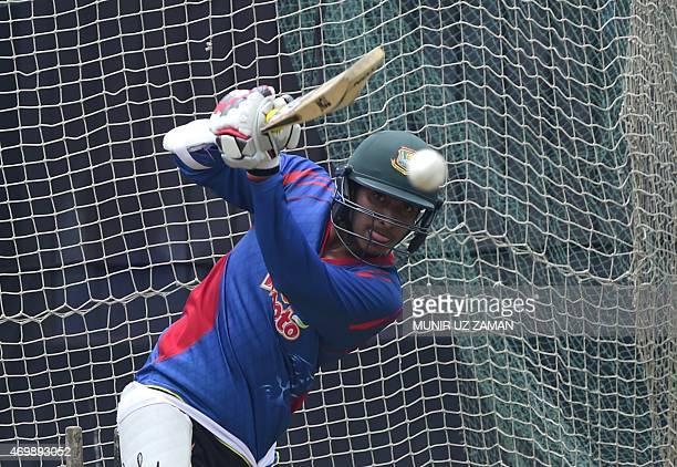 Bangladesh cricketer Soumya Sarkar plays a shot during a practice session at the ShereBangla National Cricket Stadium in Dhaka on April 16 2015 AFP...