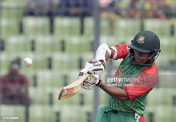 Bangladesh cricketer Soumya Sarkar plays a shot during the first one day international cricket match between Bangladesh and Pakistan at the...