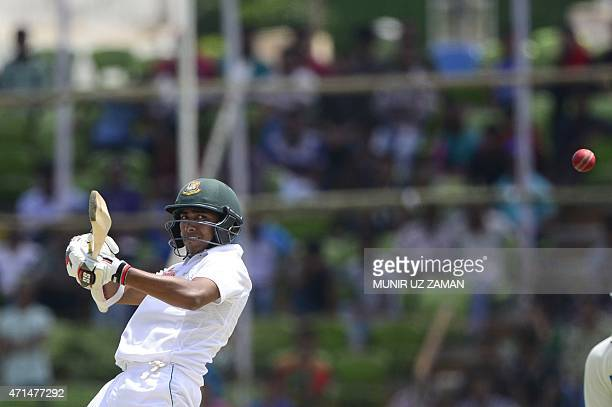 Bangladesh cricketer Soumya Sarkar plays a shot during the second day of the first cricket Test match between Bangladesh and Pakistan at The Sheikh...