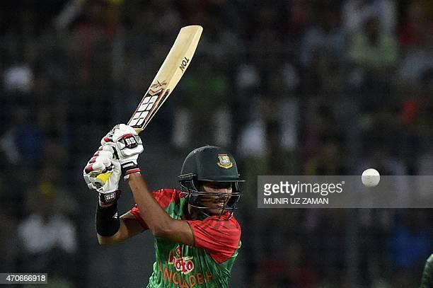 Bangladesh cricketer Soumya Sarkar plays a shot during the third One Day International cricket match between Bangladesh and Pakistan at the...