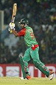 Bangladesh cricketer Soumya Sarkar plays a shot during the third One Day International match between Bangladesh and South Africa at the Zohur Ahmed...