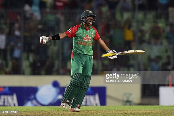Bangladesh cricketer Soumya Sarkar reacts after winning the third One Day International cricket match between Bangladesh and Pakistan at the...