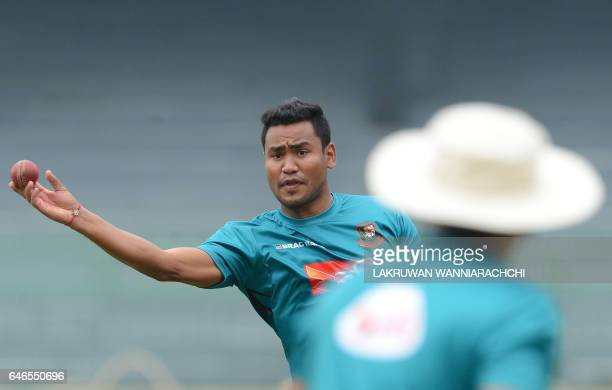 Bangladesh cricketer Subashis Roy throws a ball during a practice session at the R Premadasa Stadium in Colombo on March 1 2017 ahead of a Test...