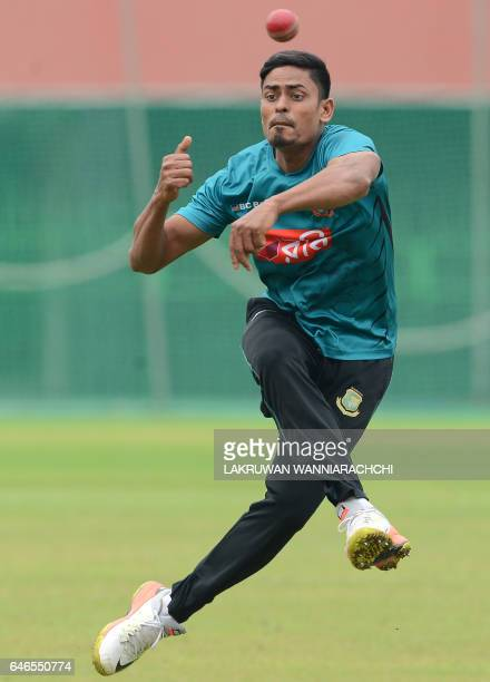 Bangladesh cricketer Taijul Islam throws a ball during a practice session at the R Premadasa Stadium in Colombo on March 1 2017 ahead of a Test...
