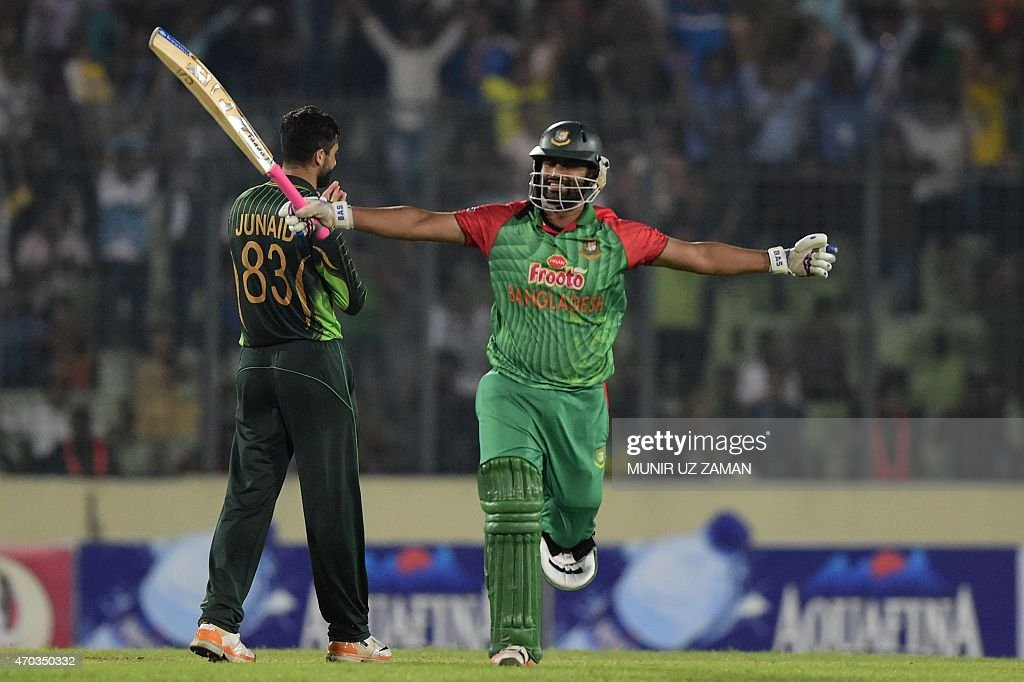 Bangladesh cricketer Tamim Iqbal reacts after scoring a century (100 runs) during the second One Day International cricket match between Bangladesh and Pakistan at the Sher-e-Bangla National Cricket Stadium in Dhaka on April 19, 2015. AFP PHOTO/ Munir uz ZAMAN