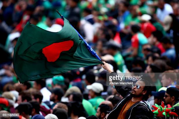 Bangladesh fan waves a flag during the ICC Champions Trophy match between Australia and Bangladesh at The Kia Oval on June 5 2017 in London England