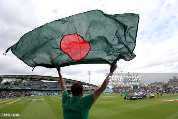 A Bangladesh fan waves a flag in support of their team during the ICC Champions Trophy Group A match at The Oval London