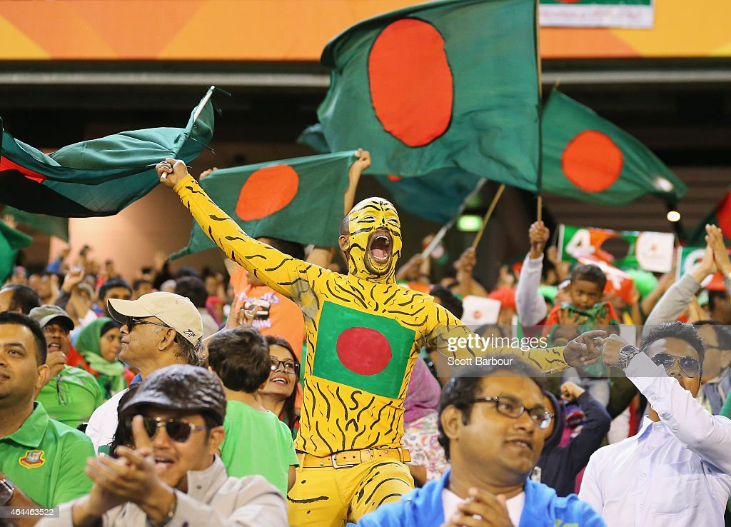 Bangladesh fans in the crowd show their support during the 2015 ICC Cricket World Cup match between Sri Lanka and Bangladesh at Melbourne Cricket...