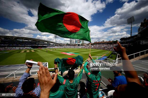 Bangladesh fans wave a flag during the ICC Champions Trophy match between England and Bangladesh at The Kia Oval on June 1 2017 in London England