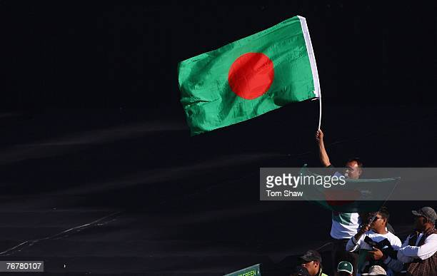 Bangladesh fans wave flags during the Twenty20 Cup Super Eights match between Australia and Bangladesh at Newlands Cricket Ground on September 16...