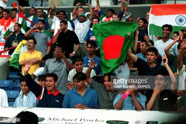 Bangladesh fans wave the flag for their team
