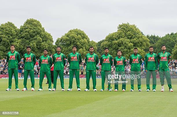 Bangladesh line up for their national anthem prior to the first One Day International match between New Zealand and Bangladesh at Hagley Oval on...