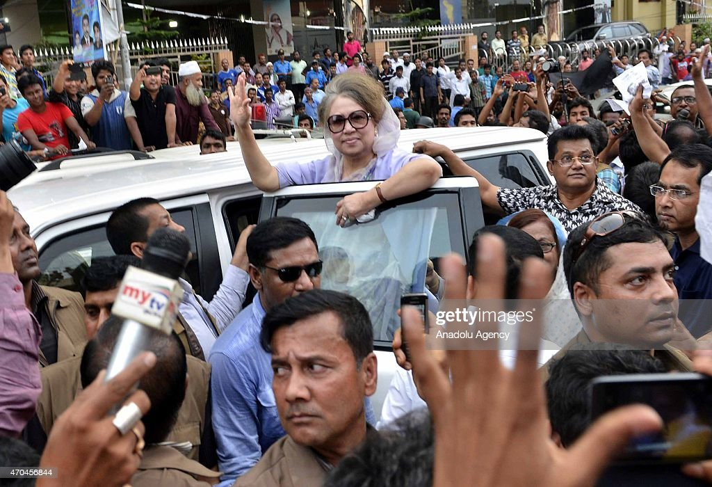 Bangladesh Nationalist Party's (BNP) Chairperson <a gi-track='captionPersonalityLinkClicked' href=/galleries/search?phrase=Khaleda+Zia&family=editorial&specificpeople=647544 ng-click='$event.stopPropagation()'>Khaleda Zia</a> salutes people during a campaign for party-endorsed city candidates in Dhaka, Bangladesh on April 20, 2015. The convoy came under attack around 6 pm on Monday at Karwanbazar where she was addressing a roadside rally, witnesses said.