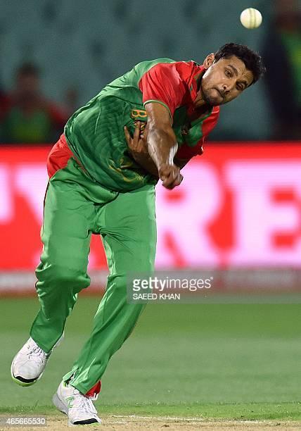 Bangladesh paceman Mashrafe Mortaza bowls during the 2015 Cricket World Cup Pool A match between Bangladesh and England at the Adelaide Oval on March...