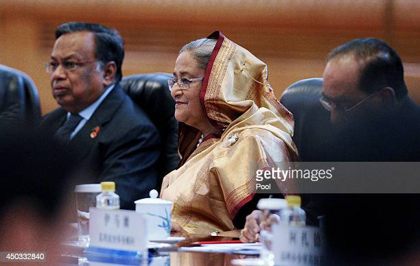 Bangladesh Prime Minister Sheikh Hasina attends a signing ceremony with Chinese Premier Li Keqiang at the Great Hall of the People on June 9 2014 in...