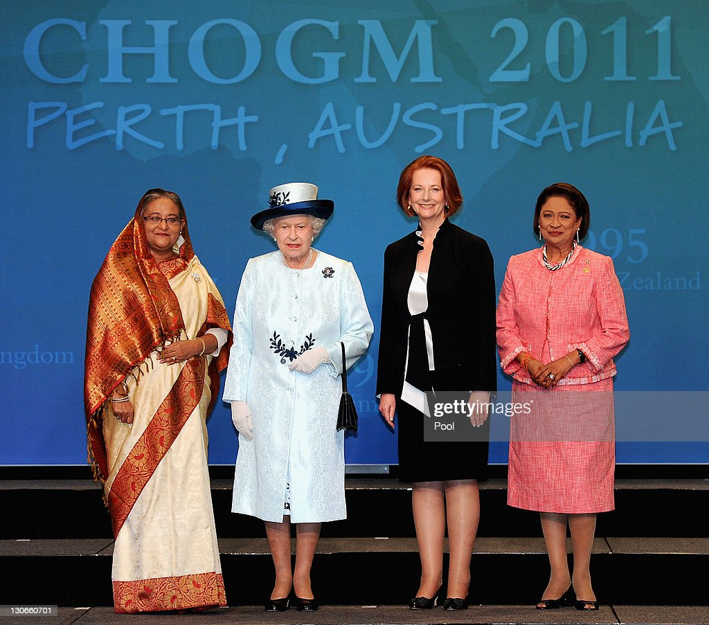 Bangladesh Prime Minister Sheikh Hasina, Queen <a gi-track='captionPersonalityLinkClicked' href=/galleries/search?phrase=Elizabeth+II&family=editorial&specificpeople=67226 ng-click='$event.stopPropagation()'>Elizabeth II</a>, Australian Prime Minister <a gi-track='captionPersonalityLinkClicked' href=/galleries/search?phrase=Julia+Gillard&family=editorial&specificpeople=787281 ng-click='$event.stopPropagation()'>Julia Gillard</a>, Trinidad and Tobago Prime Minister Kamla Persad-Bissessar pose for the official female heads of state photo at the Commonwealth Heads of Government Meeting (CHOGM) on October 28, 2011 in Perth, Australia. The three-day Commonwealth Heads of Government meeting takes place in Perth October 28 - 30.