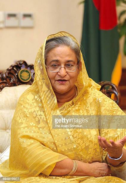 Bangladesh Prime Minister Sheikh Hasina speaks during an interview on May 22 2014 in Dhaka Bangladesh