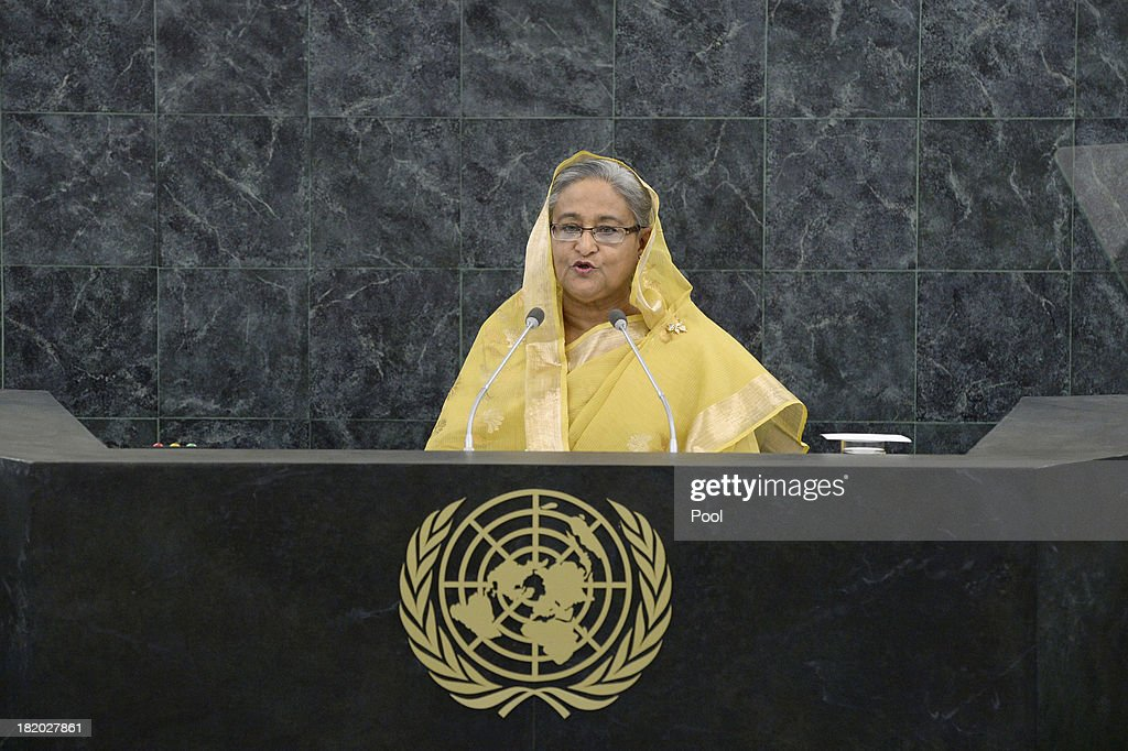 Bangladesh Prime Minister Sheikh Hasina speaks during the 68th United Nations General Assembly at U.N. headquarters on September 27, 2013 in New York City. Over 120 prime ministers, presidents and monarchs are gathering this week for the annual meeting at the temporary General Assembly Hall at the U.N. headquarters while the General Assembly Building is closed for renovations.