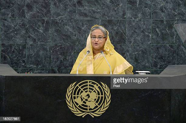Bangladesh Prime Minister Sheikh Hasina speaks during the 68th United Nations General Assembly at UN headquarters on September 27 2013 in New York...