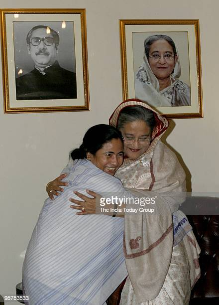 Bangladesh Prime Minister Sheikh Hasina with Mamata Banerjee at the ITC Maurya Hotel in New Delhi on Tuesday January 12 2010