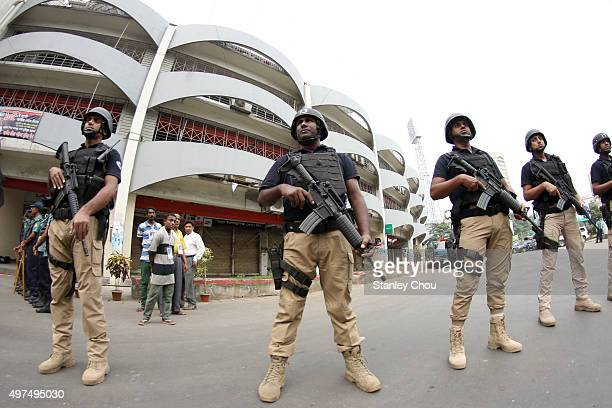 Bangladesh soldiers deploy to tighten security at the stadium in the wake of the Paris attacks prior to the start of the 2018 FIFA World Cup...
