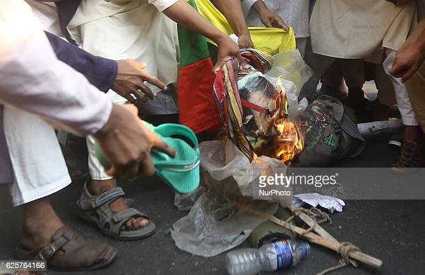 Bangladeshi activists of the HefajateIslam Bangladesh an association based fundamentalist Islamic group on 25 November 2016 in Dhaka Bangladesh...