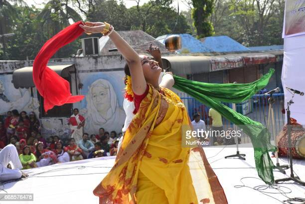 Bangladeshi artist performs at a concert held to celebrate the first day of the Bangla New Year or quotPahela Baisshakhquot in Dhaka Bangladesh...