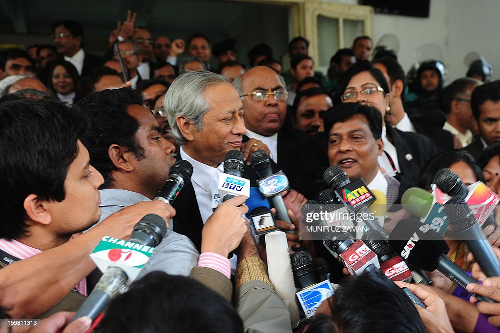Bangladeshi Attorney General Mahbubey Alam talk to journalists following the verdict at the International Crimes Tribunal court premises in Dhaka on January 21, 2013. Bangladesh's controversial war crimes court sentenced to death a top Islamic televangelists for genocide and other atrocities during the country's 1971 liberation struggle against Pakistan, a prosecutor said. Maolana Abul Kalam Azad who has been on the run for about a year is the first person to have been convicted by the controversial International Crimes Tribunal, created by the country's secular government to try suspected war criminals. AFP PHOTO/Munir uz ZAMAN