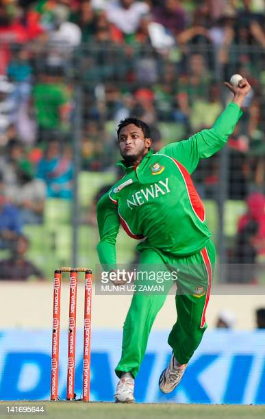 Bangladeshi bowler Shakib Al Hasan delivers a ball during the one day international Asia Cup cricket final match between Bangladesh and Pakistan at...