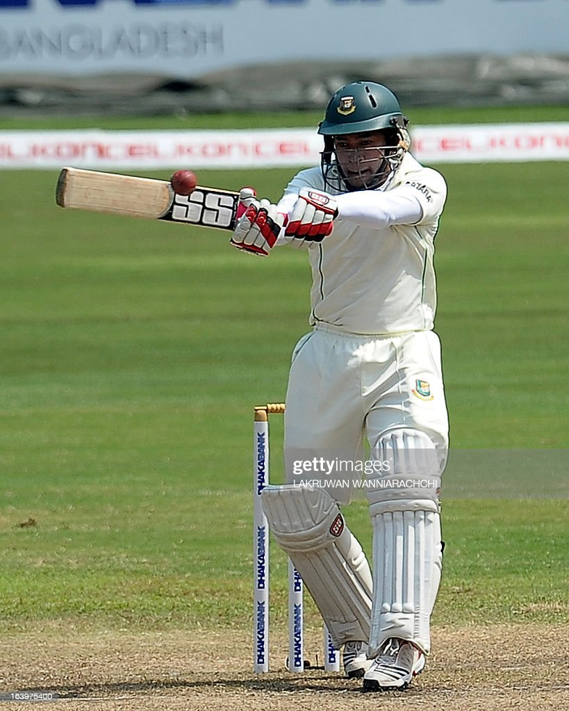 Bangladeshi captain Mushfiqur Rahim plays a shot during the fourth day of the second Test match between Sri Lanka and Bangladesh at the R. Premadasa Cricket Stadium in Colombo on March 19, 2013. AFP PHOTO/ LAKRUWAN WANNIARACHCHI