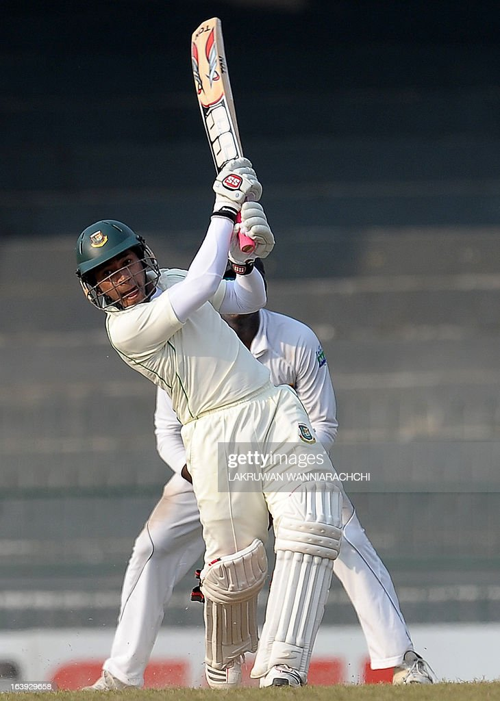 Bangladeshi captain Mushfiqur Rahim plays a shot during the third day of the second Test match between Sri Lanka and Bangladesh at the R. Premadasa Cricket Stadium in Colombo on March 18, 2013.