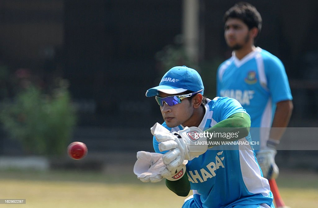 Bangladeshi captain Mushfiqur Rahima catches a ball during a practice session at the Uyanwatte Stadium in the southern town of Matara on March 2, 2013. Bangladesh will play two Tests, three one-dayers and one Twenty20 match during their month-long tour of Sri Lanka, with the first Test starting at Galle on March 8.