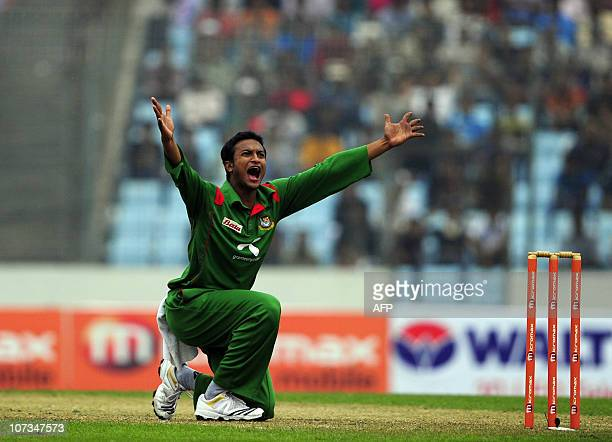 Bangladeshi cricket team captain Shakib Al Hasan appeals for a leg before wicket decision during the third one day international match between...