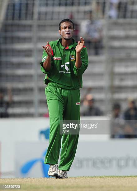 Bangladeshi cricket team captain Shakib Al Hasan reacts after the dismissal of New Zealand cricketer Aaron Redmond during the fourth...