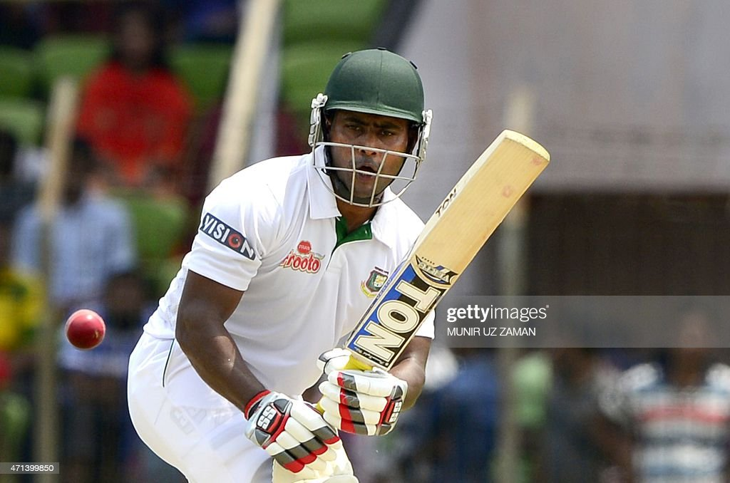 Bangladeshi cricketer <a gi-track='captionPersonalityLinkClicked' href=/galleries/search?phrase=Imrul+Kayes&family=editorial&specificpeople=5565752 ng-click='$event.stopPropagation()'>Imrul Kayes</a> plays a shot during the first day of the first cricket Test match between Bangladesh and Pakistan at The Sheikh Abu Naser Stadium in Khulna on April 28, 2015. AFP PHOTO/Munir uz ZAMAN