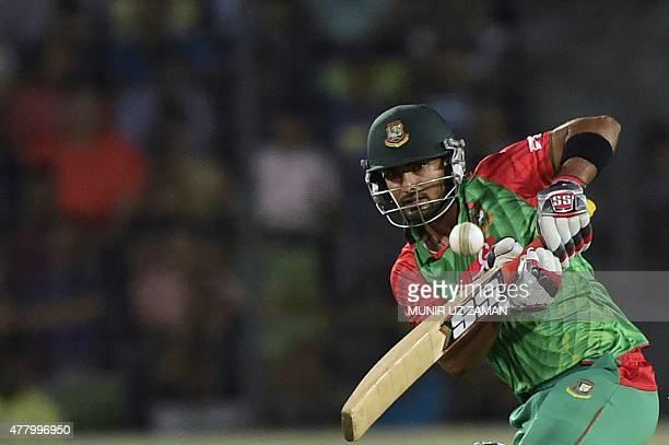 Bangladeshi cricketer Litton Das plays a shot during the second ODI cricket match between Bangladesh and India at the ShereBangla National Cricket...