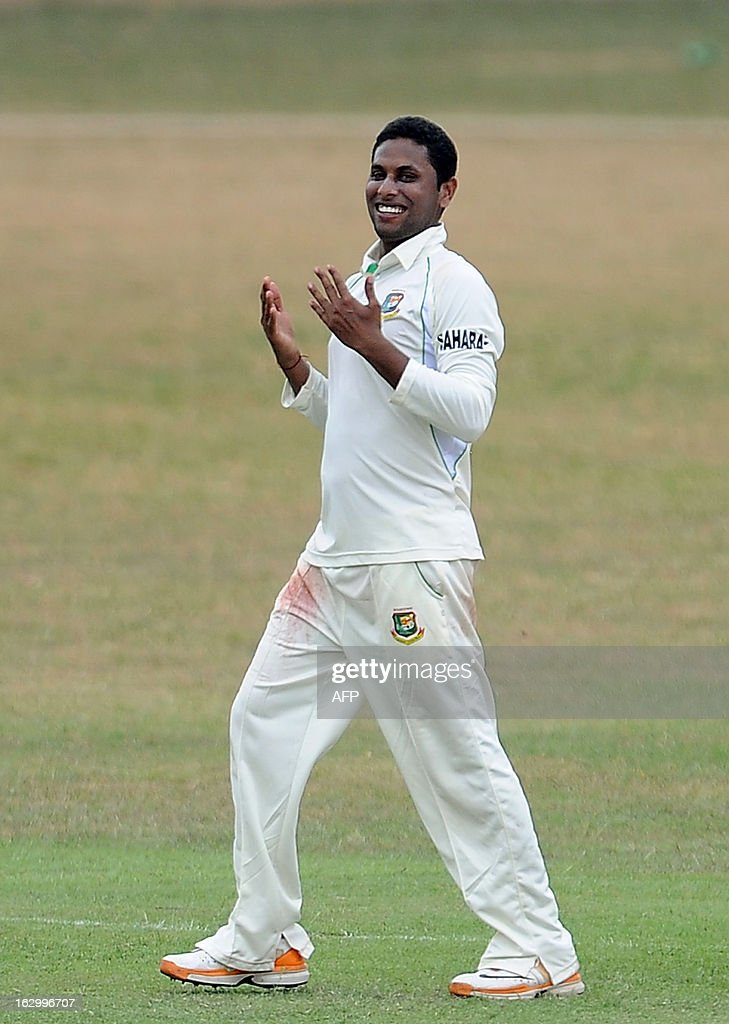 Bangladeshi cricketer Sohag Gazi celebrates after his dismissal of Sri Lanka Development Emerging cricketer Ashan Priyanjan during the first day of a three day practice match between the Sri Lanka Development Emerging Team and Bangladesh at the Uyanwatte Stadium in Matara on March 3, 2013.